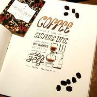 Coffee quote design, ink